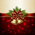 Christmas decoration with bells background two red bow spruce branches and blurry lights illustration Royalty Free Stock Photography