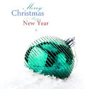 Christmas decoration with big bauble and snow with easy remov removable sample text Stock Photography
