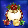 Christmas decoration on blue background with red bow bells and baubles illustration Royalty Free Stock Photo