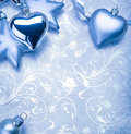 Christmas decoration on blue vintage background Stock Photo