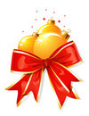 Christmas decoration / bow and balls / vector Royalty Free Stock Photography