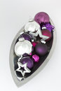 Christmas decoration bowl silver violet Royalty Free Stock Photo