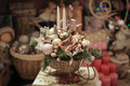 Christmas decoration with candle,fir branches and pine cones. Royalty Free Stock Photo