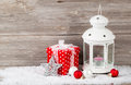 Christmas decoration with candle in lantern Royalty Free Stock Photo