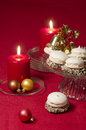 Christmas decoration with candles ribbons and cookies from series new year Stock Images