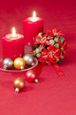 Christmas decoration with candles ribbons and cookies from series new year Stock Photos