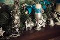 Christmas decoration - candles, snowflakes, deer, bells