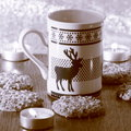 Christmas decoration card with mug stock photo stag on northern lights background Stock Photos