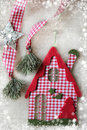 Christmas decoration christmas house over grunge background vintage paper Stock Photography