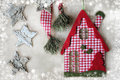 Christmas decoration christmas house over grunge background vintage paper Royalty Free Stock Images