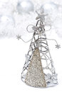 Christmas decoration christmas tree made ​​of metal on white Stock Image