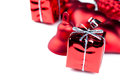 Christmas decoration closeup view of vibrant red decorations Royalty Free Stock Images