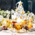 Christmas decoration cup tea food drinks