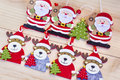 Christmas decoration with  deer and Santa Claus- background Royalty Free Stock Photo