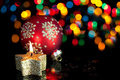 Christmas decoration on defocused lights Royalty Free Stock Image