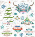 Christmas decoration design elements. Merry Christmas and happy Royalty Free Stock Photo