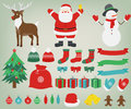 Christmas decoration elements with Santa Claus, Reindeer and Snowman. Hand Drawn. Vector