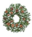 Christmas decoration evergreen pine wreath cones white backgroun Royalty Free Stock Photo