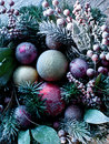 Christmas decoration with fir and baubles closeup shot Stock Photography