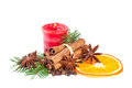 Christmas decoration with fir branch candle cinnamon Royalty Free Stock Photo