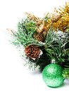 Christmas decoration with fir branch christmas and cones on whi ball white background composition space for text Stock Photography