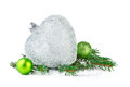 Christmas decoration with fir branch snow and heart Royalty Free Stock Images