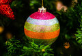 Christmas decoration on the fir tree close up of xmas Royalty Free Stock Photography