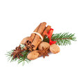 Christmas decoration with fragrant spices isolated on white Royalty Free Stock Images