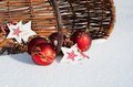 Christmas decoration in the fresh snow Royalty Free Stock Image