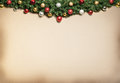 Christmas decoration with fur and baubles background Royalty Free Stock Image