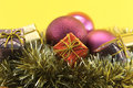Christmas decoration with gift and garlands conceptual image about colorful boxes ornaments purple gold Stock Photography