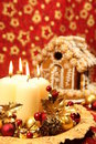 Christmas decoration and gingerbread house Stock Images