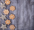 Christmas decoration and gingerbread snowflakes