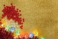 Christmas decoration on gold background Royalty Free Stock Images