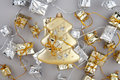 Christmas decoration gold tree with garland Stock Image