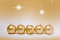 Christmas decoration golden baubles Royalty Free Stock Photo