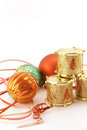 Christmas decoration with golden drums conceptual image about ornaments colorful ornaments and red ribbon Royalty Free Stock Photography