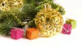 Christmas decoration with golden flask and gifts Stock Image