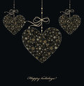 Christmas decoration with golden hearts from snowflakes vector Stock Image