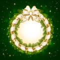Christmas decoration on green background with bow and spruce branches illustration Royalty Free Stock Photos