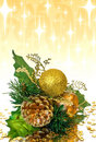 Christmas decoration - green and gold branch Stock Photography