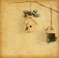 Christmas decoration hanging over paper background Stock Photography