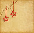 Christmas decoration hanging over paper background old Stock Images