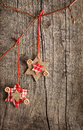 Christmas decoration hanging over wooden board old Royalty Free Stock Image