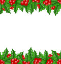 Christmas decoration holly berry branches illustration Stock Photo