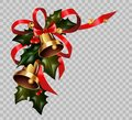 Christmas decoration holly wreath bow gold bells element vector transparent background