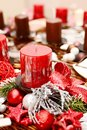 Christmas decoration interior home on the table with red candle Stock Photos