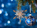 Christmas decoration with lights in the background very shallow depth of field Royalty Free Stock Photography