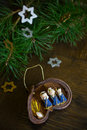 Christmas decoration with Nativity scene Royalty Free Stock Photo