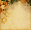Christmas decoration with old paper photo in retro style texture Stock Photos